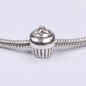 PANDORA Silver Cupcake,14K Gold Cherry ontop Charm
